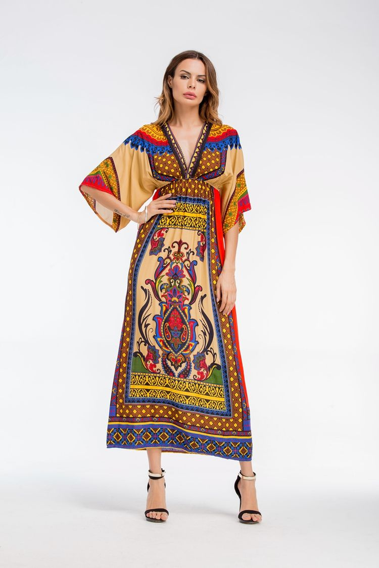 8c10a003fd Long Dress Thailand Women Ethnic Floral V Neck Bohemian Boho Beach Dress  Robe Longue Femme