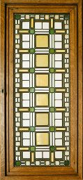 Frank Lloyd Wright - Leaded Glass Window. Leaded Glass with Wood Frame. Executed by Linden Glass Co. for the Darwin D. Martin House, Buffalo, New York. Circa 1903.