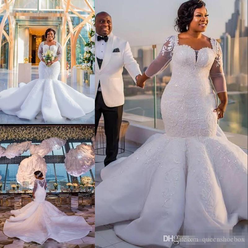 African Plus Size Wedding Dresses Sequins Lace Appliques Illusion