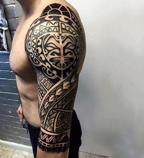 Full Sleeve Guys Maori Tribal Tattoo