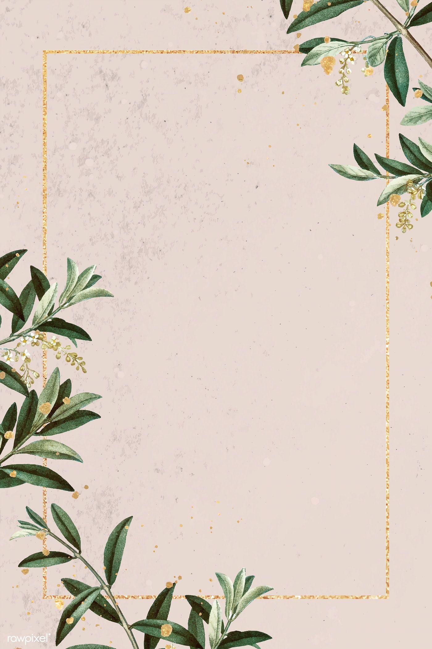 Download Premium Vector Of Rectangle Gold Frame With Olive Branch Pattern Gold Frame Olive Branch Flower Background Wallpaper