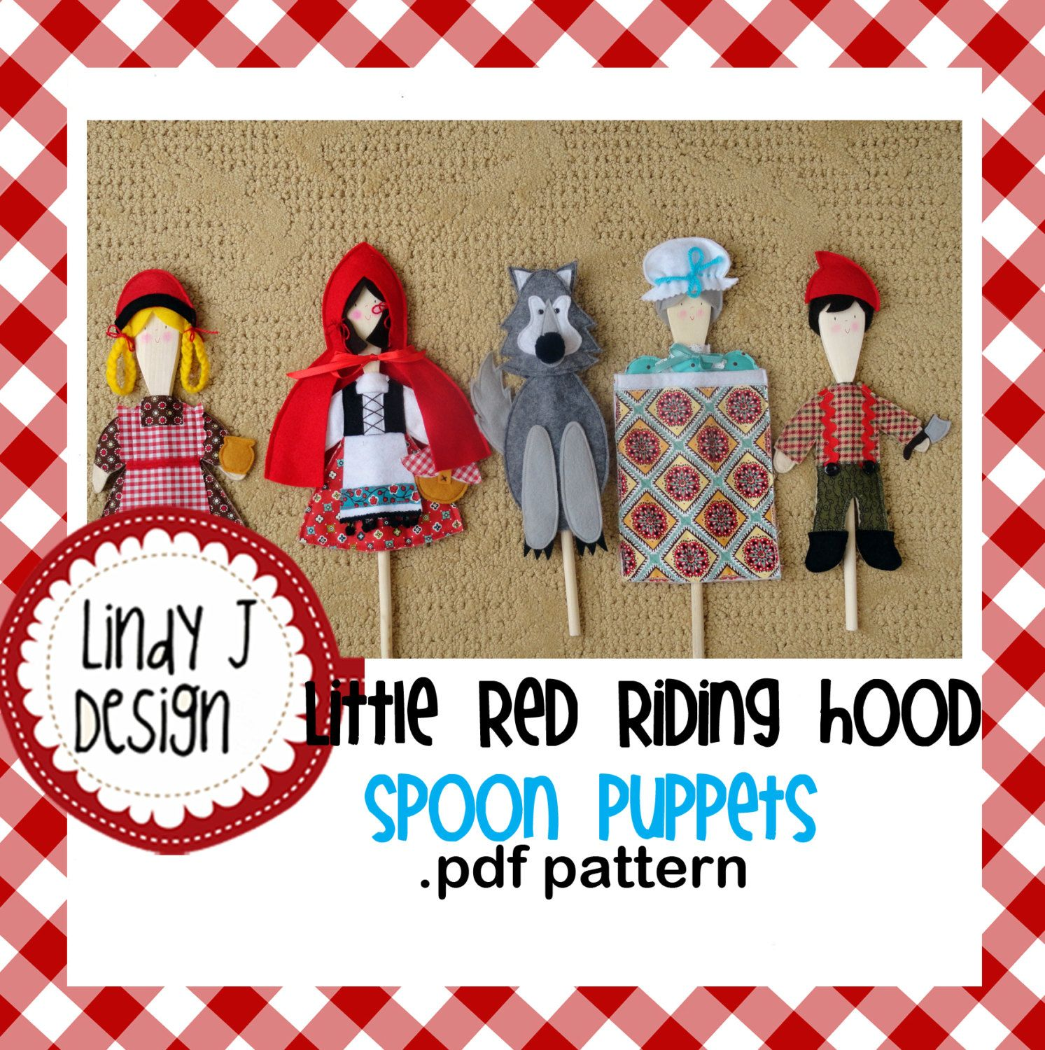 Little Red Riding Hood Wooden Spoon Puppets Pdf Pattern With