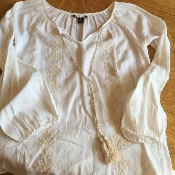 Lucky Brand summer cotton top Cute top. Maybe used alone as a cover up or layered with a tank. Never worn Lucky Brand Tops Blouses