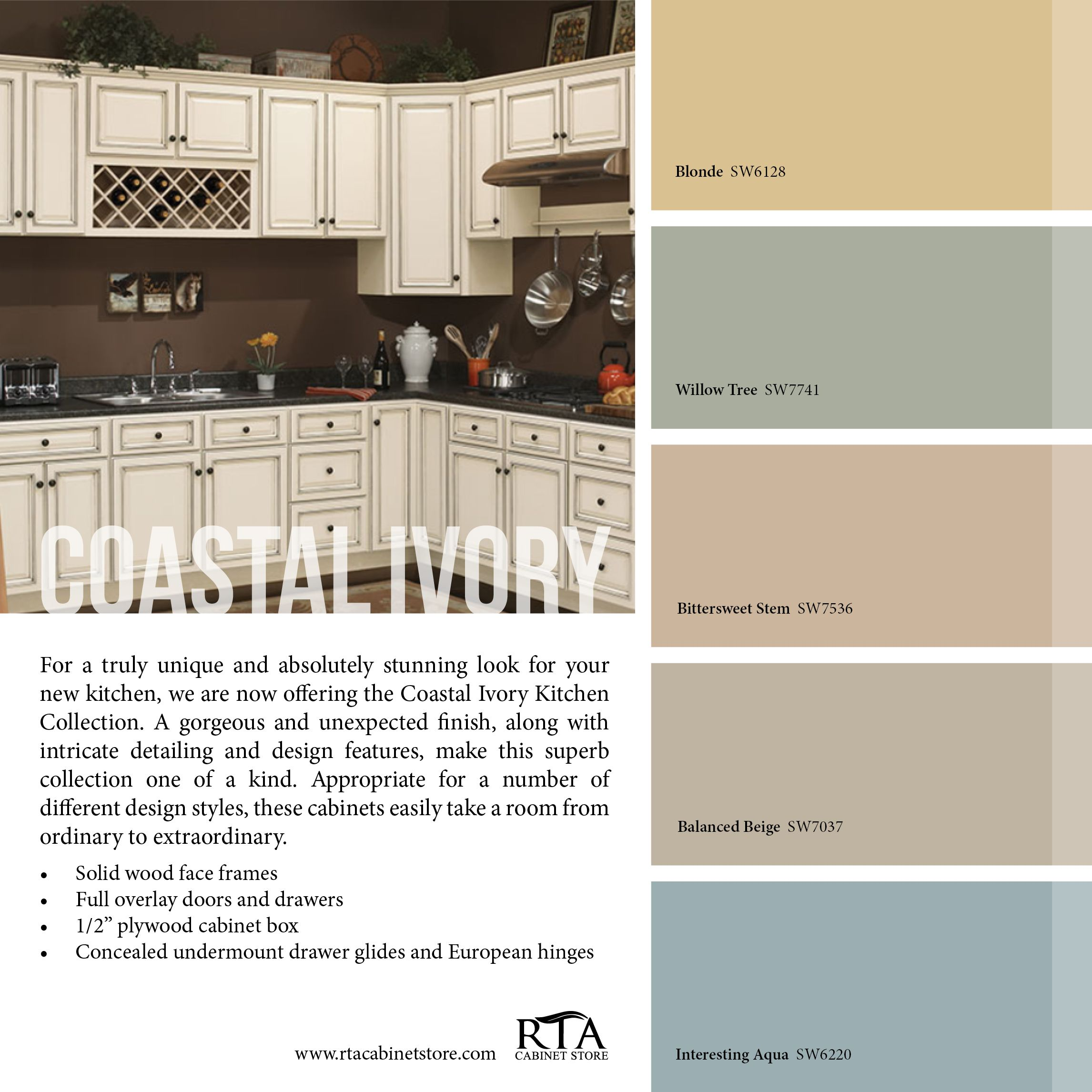 Color Palette To Go With Our Coastal Ivory Cabinet Line Ivory Kitchen Cabinets Ivory Kitchen Ivory Cabinets