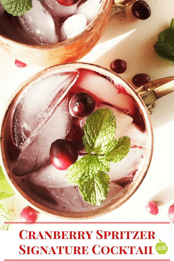 A drink recipe that is the perfect signature cocktail for any party, holiday, shower, or graduation. Can be made with alcohol or as a non-alcoholic drink recipe. A cranberry drink recipe that is low calorie.