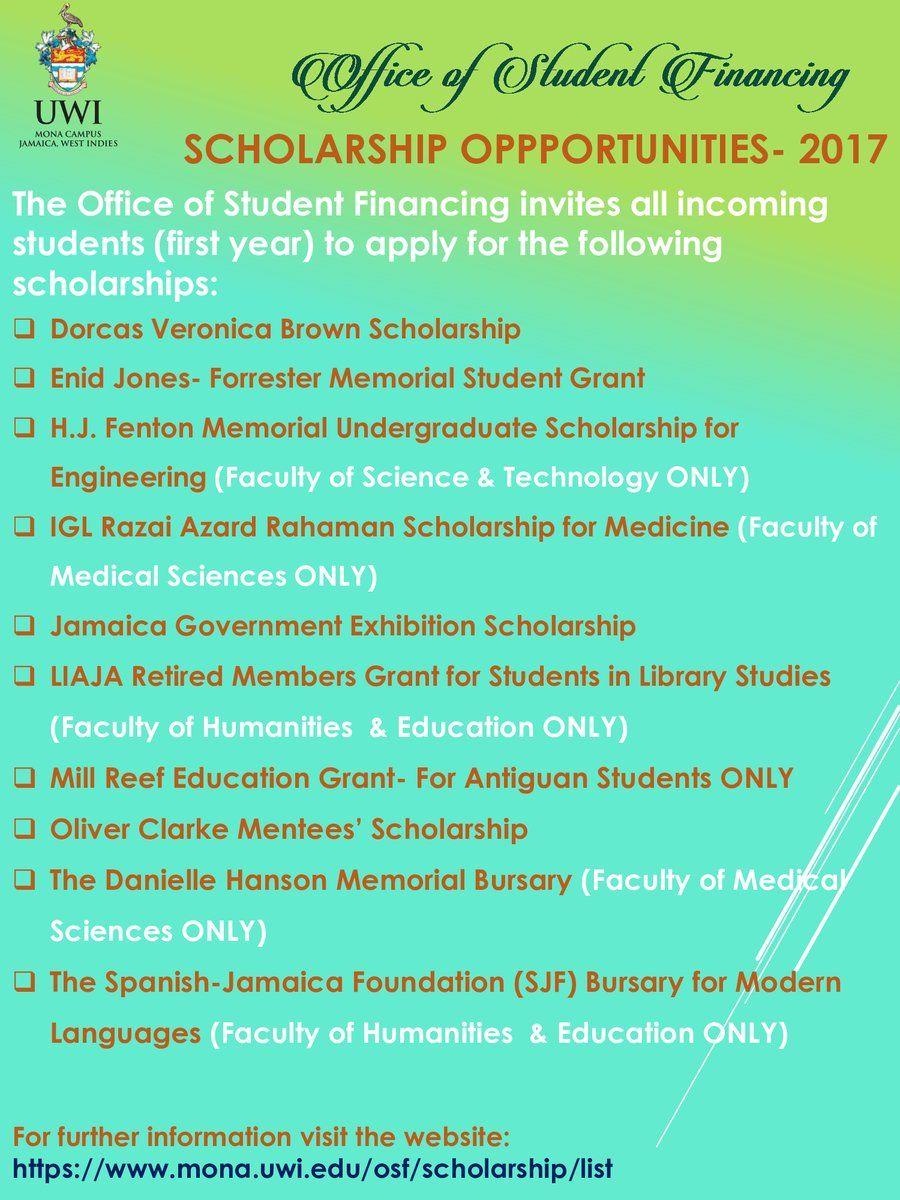 First Year Scholarship Opportunities (2017)! Please