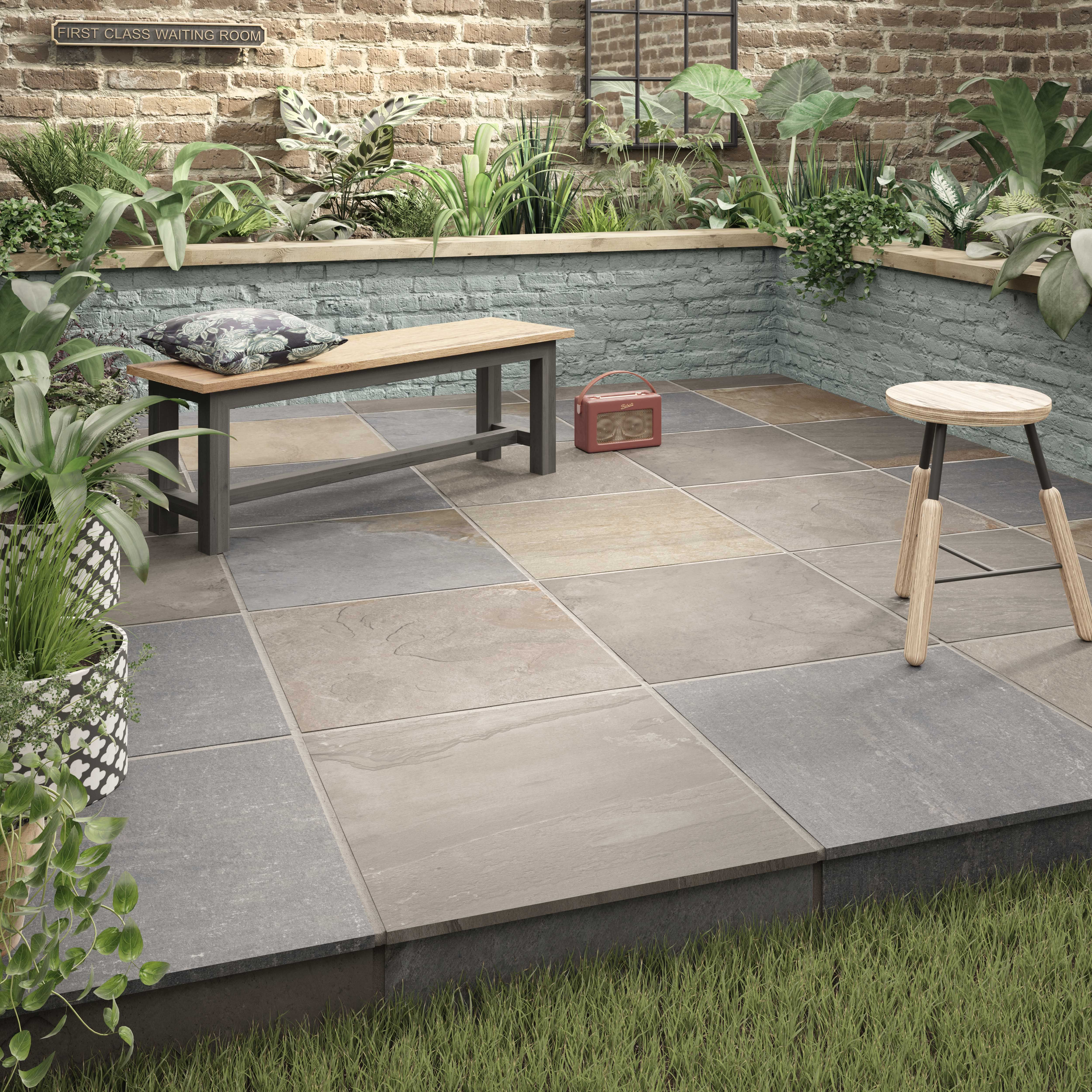 Newby Grey Multi 600x600mm In 2020 Outdoor Porcelain Tile Outdoor Tile Patio Patio Tiles
