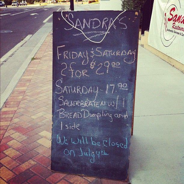 Specials board at Sandra's Restaurant in Punta Gorda, Florida