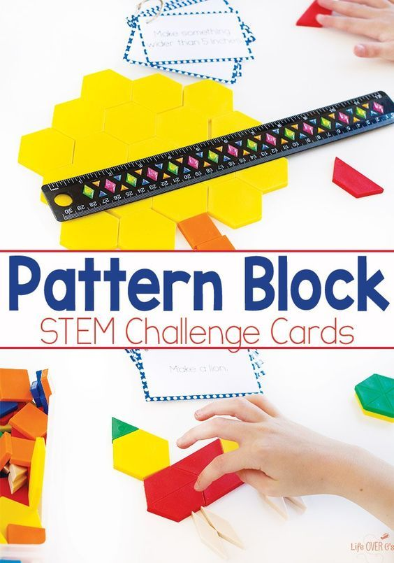 Pattern Block Stem Challenge Cards Free Printable  Pattern Blocks
