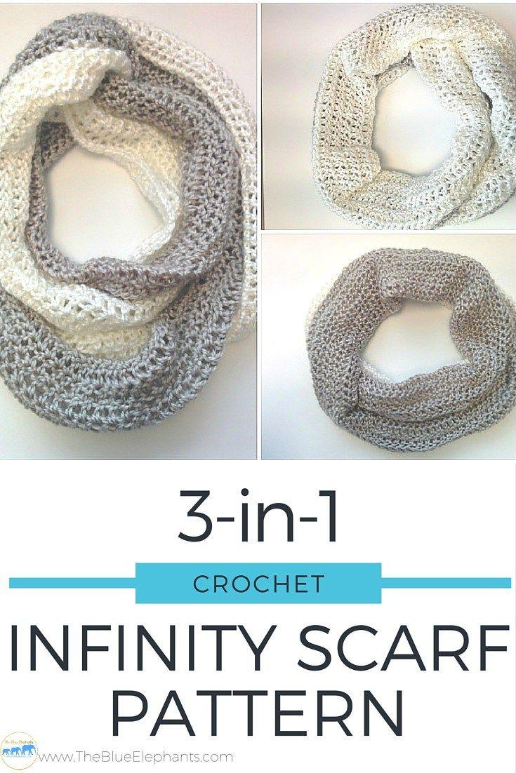3-in-1 Infinity Scarf FREE Crochet Pattern | Chal, Guantes y Chal de ...