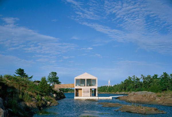 Floating house on an island on Lake Huron