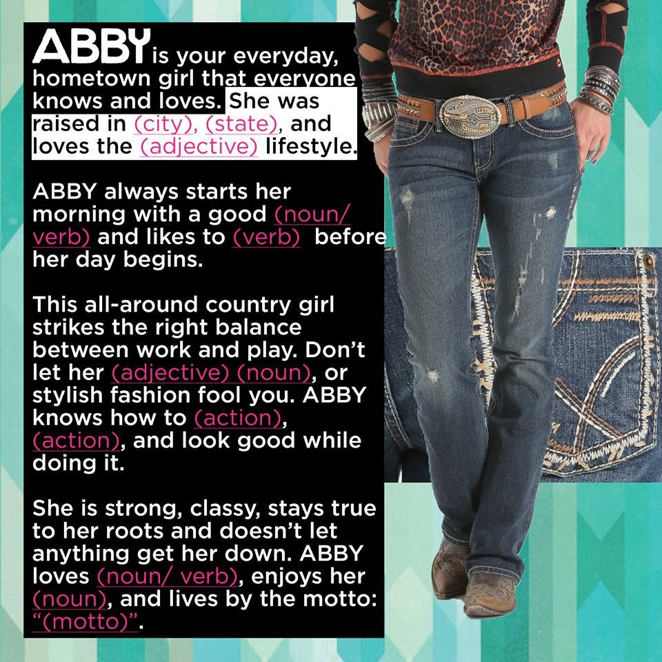Meet ABBY!   Here's the first of 4 fill-in-the-blanks for November's #crueldenim contest.   Leave a comment below and tell us where ABBY was raised and what she loves. We can't wait to see your responses!