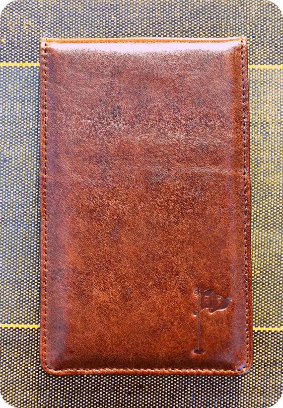 Handmade Leather Golf Scorecard Holder Yardage Book In Dark Bourbon