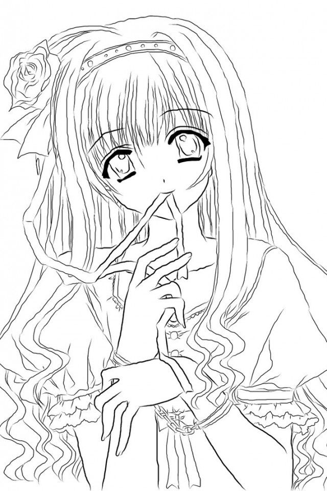 cute anime coloring pages - photo#19