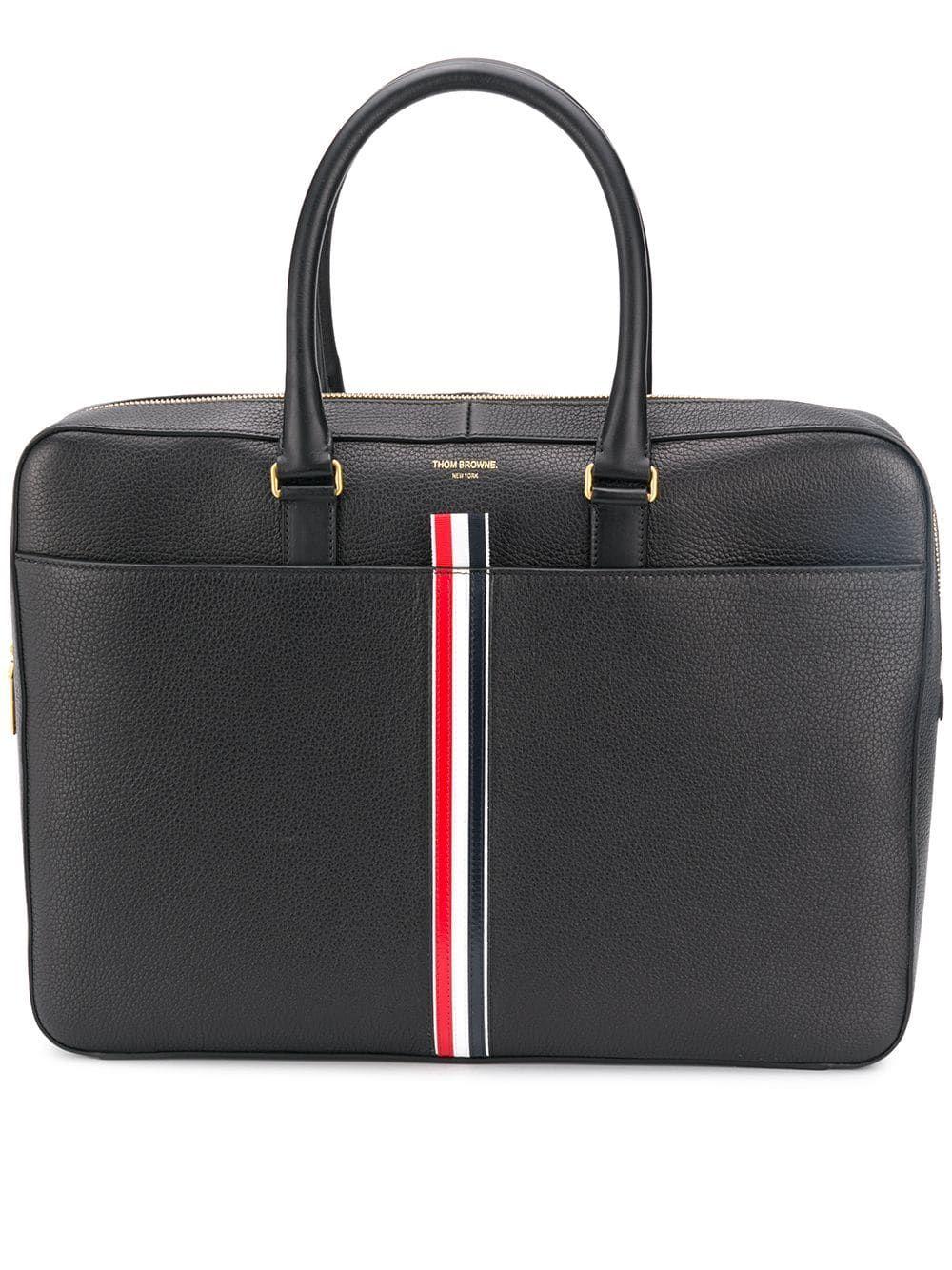 THOM BROWNE THOM BROWNE LOGO STRIP LAPTOP BAG - BLACK.  thombrowne  bags   leather  hand bags 21009f5f5edbc