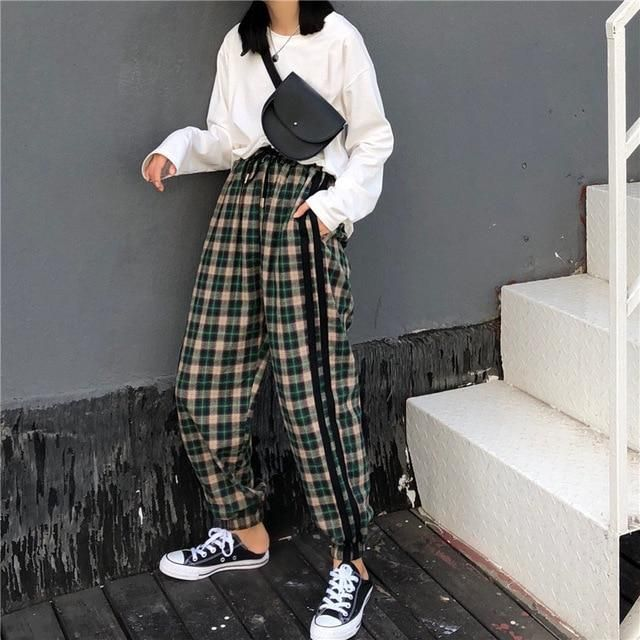 2018 Autumn Harajuku Red Green Plaid Pants Women Korean Retro Casual Elasticrricdress