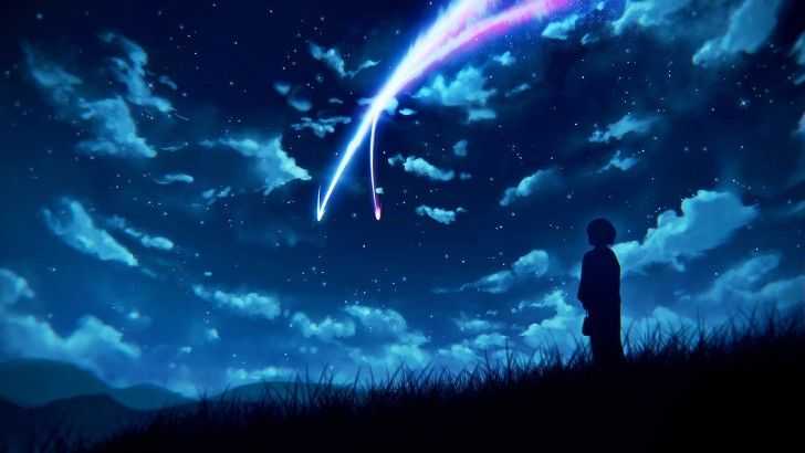 Anime Night Sky: Night Sky Scenery Clouds Stars Anime Your Name. Wallpaper