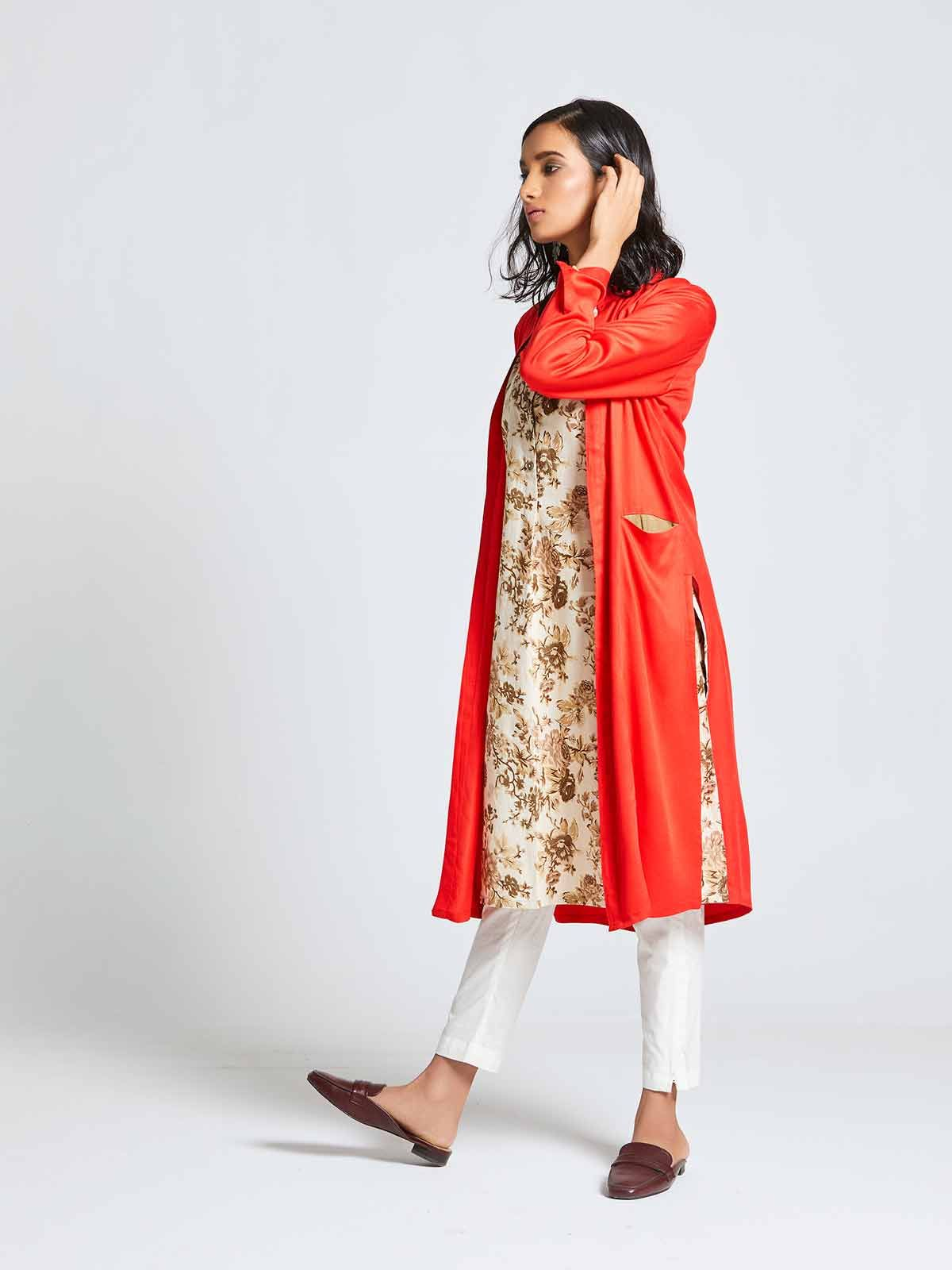 f710c2b4b7a A Subtle Cream Coloured Kurti With Tan Mahua Flowers Printed All Over And  Giving It A