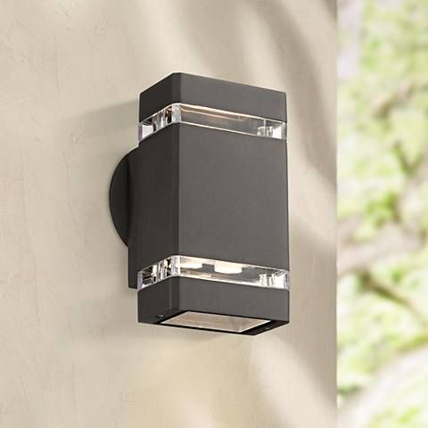 possini euro bronze 8 high led up down outdoor wall light 4c895