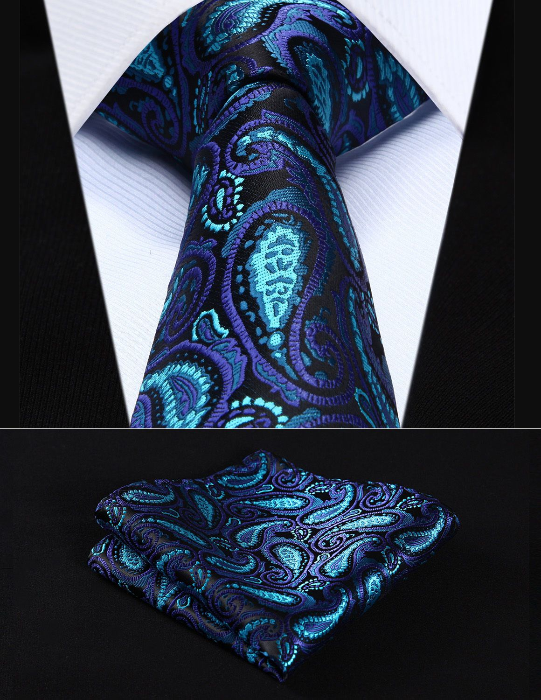 Purple Floral Men Tie Set Pocket Square Cufflinks Wedding Party Men Necktie Set