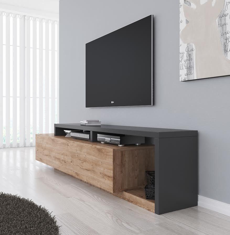 Ideeen Tv Meubel.Tv Meubel Bello Eiken Antraciet 219 Cm In 2020 Meubels