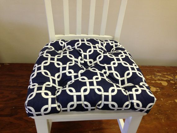 Set Of 4 Navy Blue And White Chain Link Chair Pads Seat Cushions Bar Stool Cushion Chair Pads Tufted Chair Bar Stool Cushions