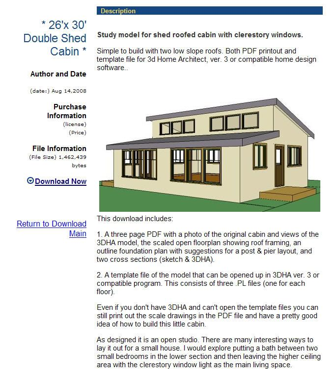 Double shed roof house plans for Shed floor plans