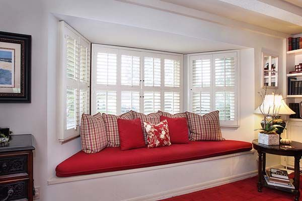 Vibrant red bay window cushions and throw pillows via - Window seat bay window ...