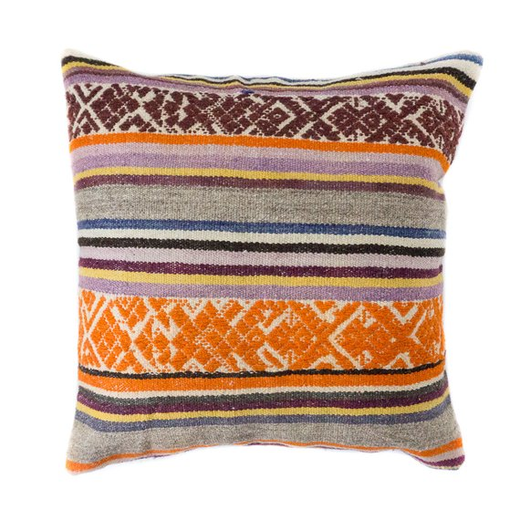 Peruvian Frazada Pillow / Orange Boho Pillow / Southwest Throw Pillow / Boho Throw Pillow / Orange and Purple Pillow / Incan Textile