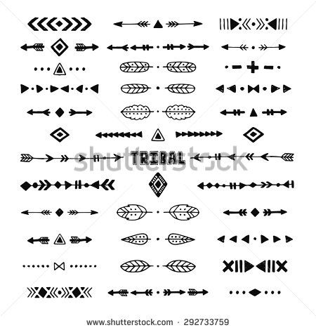 Hand Drawn Tribal Collection With Stroke Line Arrow Decorative