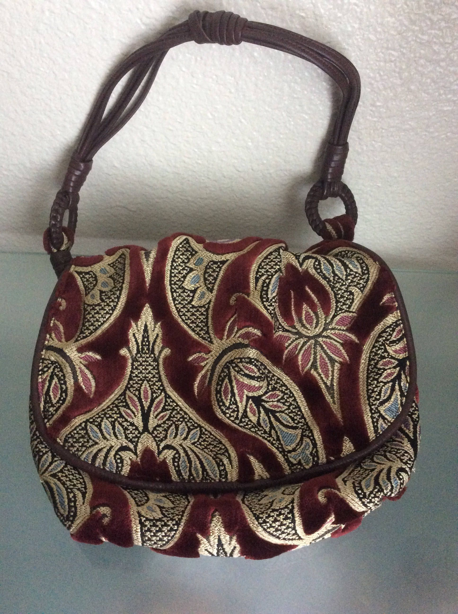 Womens Maxx Ny Hand Bag Hobo Floral Paisley Wine Gold Fabric Trim Women Genuine Leather Bags By Nalikacraft On Etsy