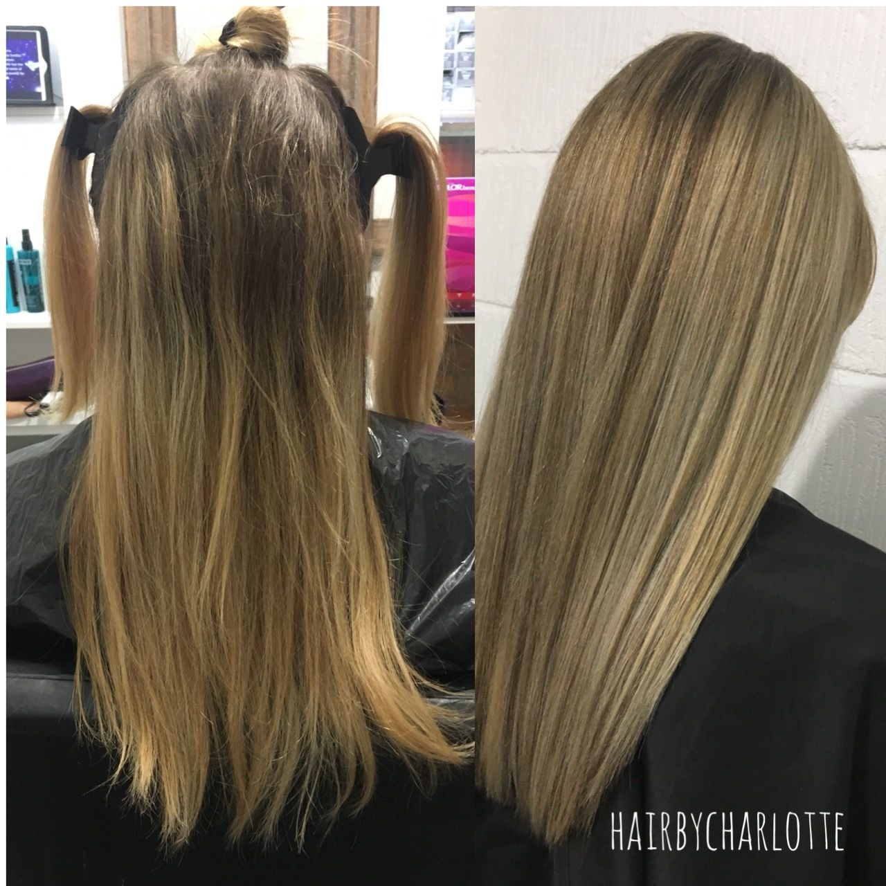 Before Grown Out Highlights Over 6 Months Of Growth After Full Head Of Highlights And Lowlights And A Root Melt Grown Out Highlights Hair Long Hair Styles