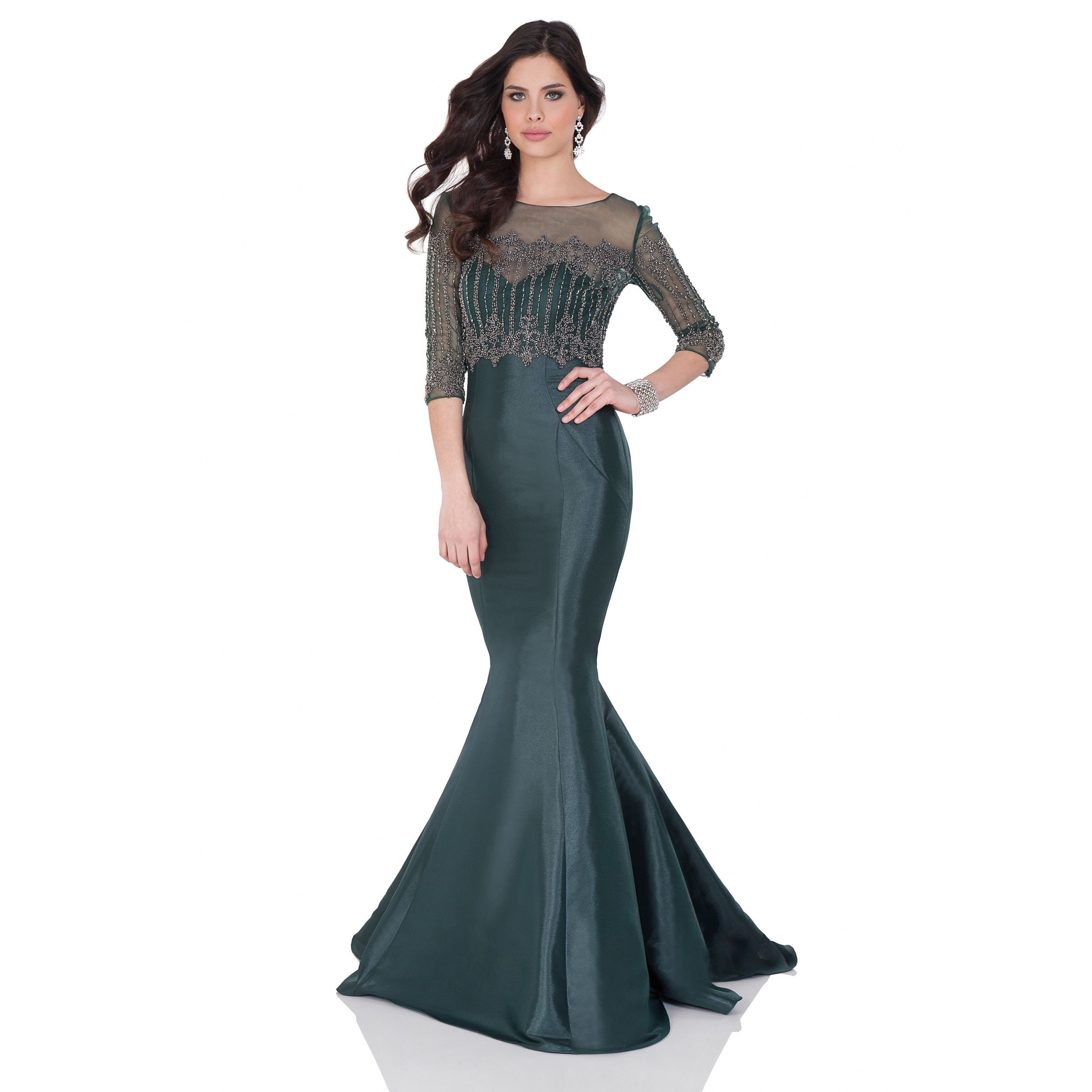 Terani couture womenus shimmer and sheer beaded coverup mermaid gown