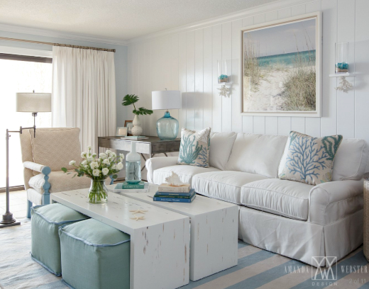 Breezy Condo Living Room Beach Cottage Style Shop The Look Beach House Living Room Condo Living Room Coastal Living Rooms