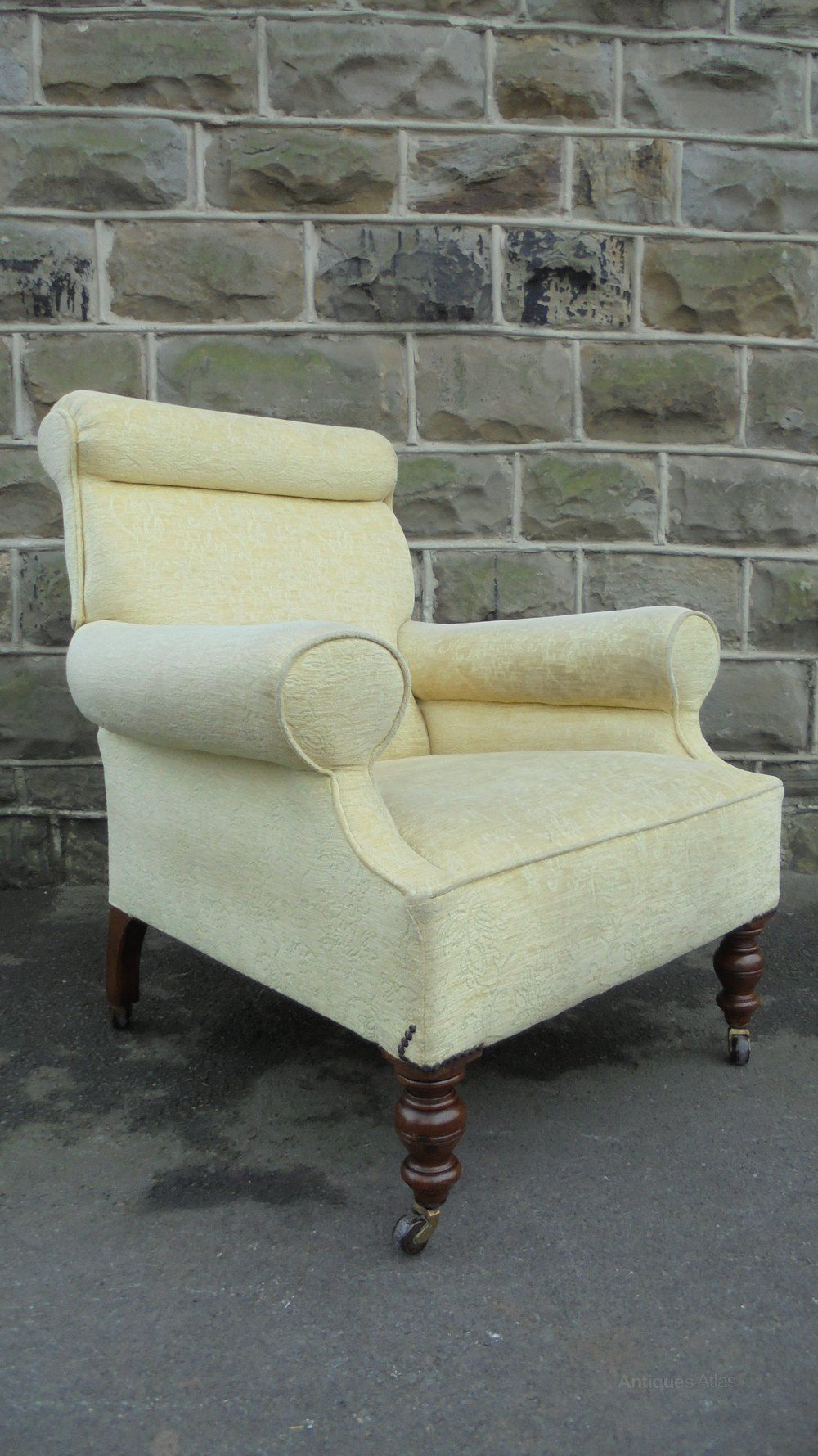 Antique English Upholstered Armchair Upholstered Arm Chair