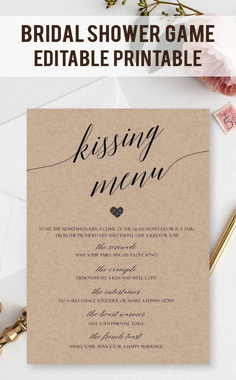 Customizable Kissing Menu Cards Printable Kissing Games Wedding