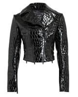 AZZEDINE ALAÏA | Crocodile Embossed Patent Leather Jacket | Browns fashion & designer clothes & clothing