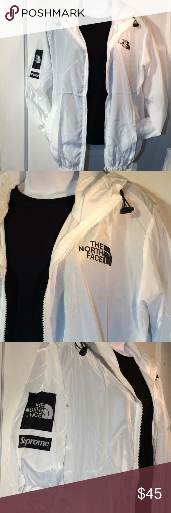 North Face Supreme White Full Zip Windbreaker This Is Nwt White Windbreaker From The North Face Supreme White Windbreaker North Face Jacket Clothes Design [ 1740 x 580 Pixel ]