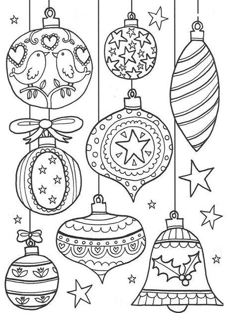 Новогодние раскраски с елочными игрушками   Рождественские ...
