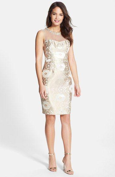 Maggy London Starry Night Embellished Illusion Yoke Jacquard Sheath Dress Available At Nordstrom