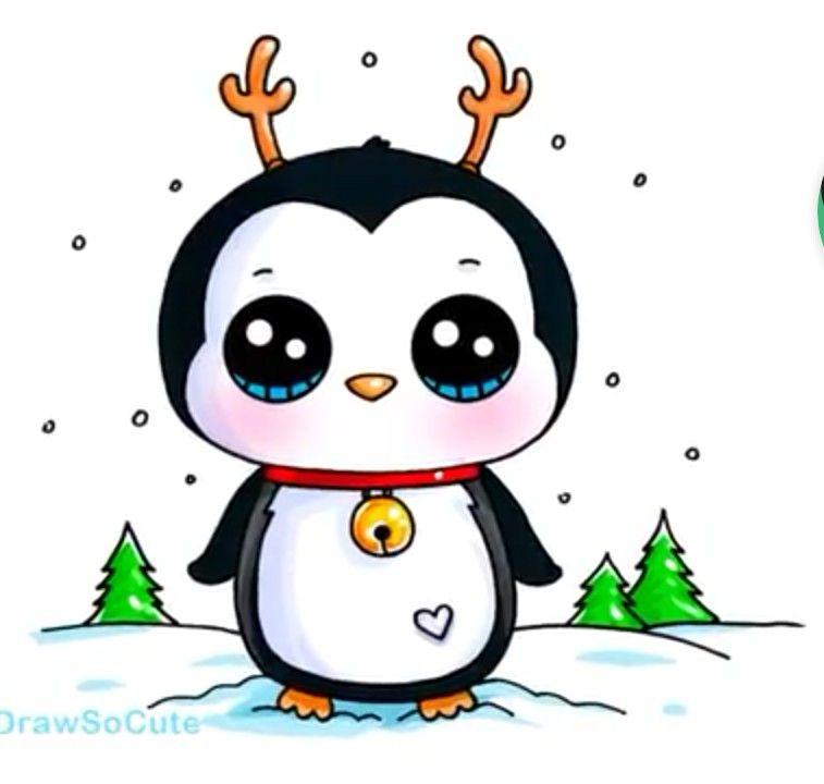 Coloriage Pingouin Kawaii.Pingouin De Noel Dessin Kawaii En 2019 Dessin Kawaii Animaux