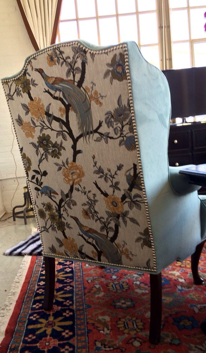 SOLD Baby Blue Peacock Vintage Wing Back Chair With Baby Blue Velvet And  Linen Floral Peacocks On Back Silver Nailhead Trim | Nailhead Trim, Blue  Velvet And ...