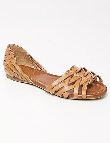 60746e739e64 Your favorite summer huarache sandals in an updated peep-toe d Orsay style.  Wide widths. lanebryant.com