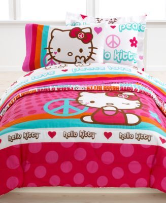 Hello Kitty Bedding Peace Kitty 3 Piece Twin Sheet Set Hello