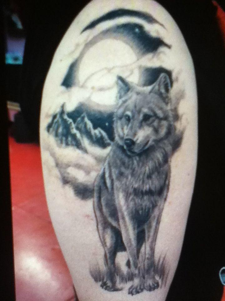 Elegant And Beautiful Lone Wolf In Moonlight And Forest Tattoo Wolf And Moon Tattoo Wolf Tattoos Men Wolf Tattoo
