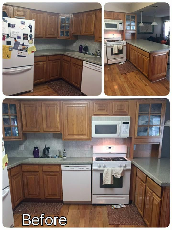 seagull gray and driftwood kitchen cabinets