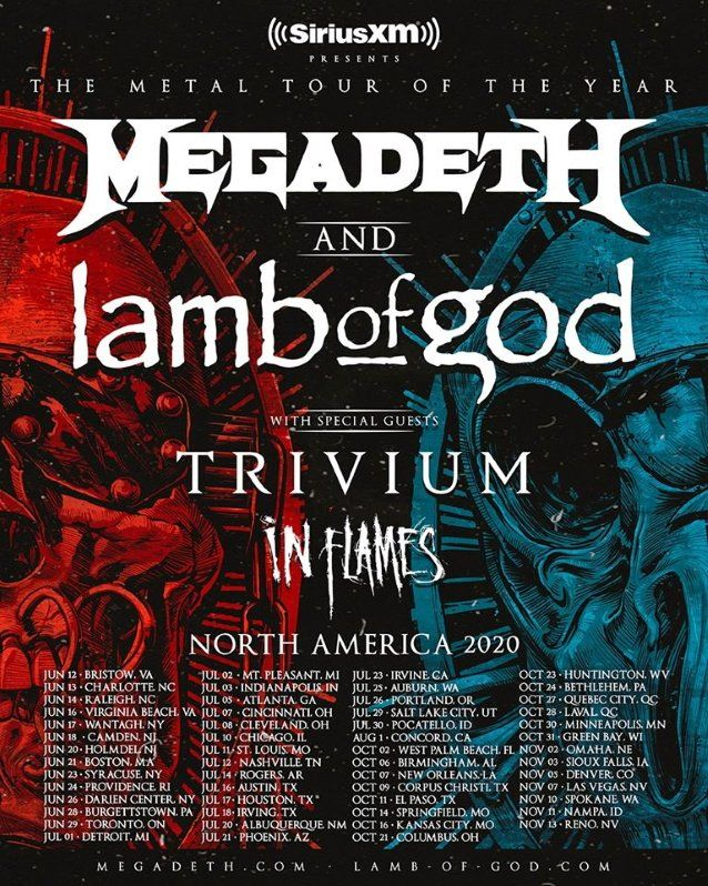 Megadeth Lamb Of God Announce 2020 North American Tour Trivium And In Flames To Open Blabbermouth Net Megadeth North American Tours
