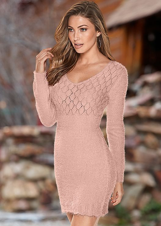 e0a8934cbf46 Look perfect in pink this season in the Venus cozy sweater dress ...