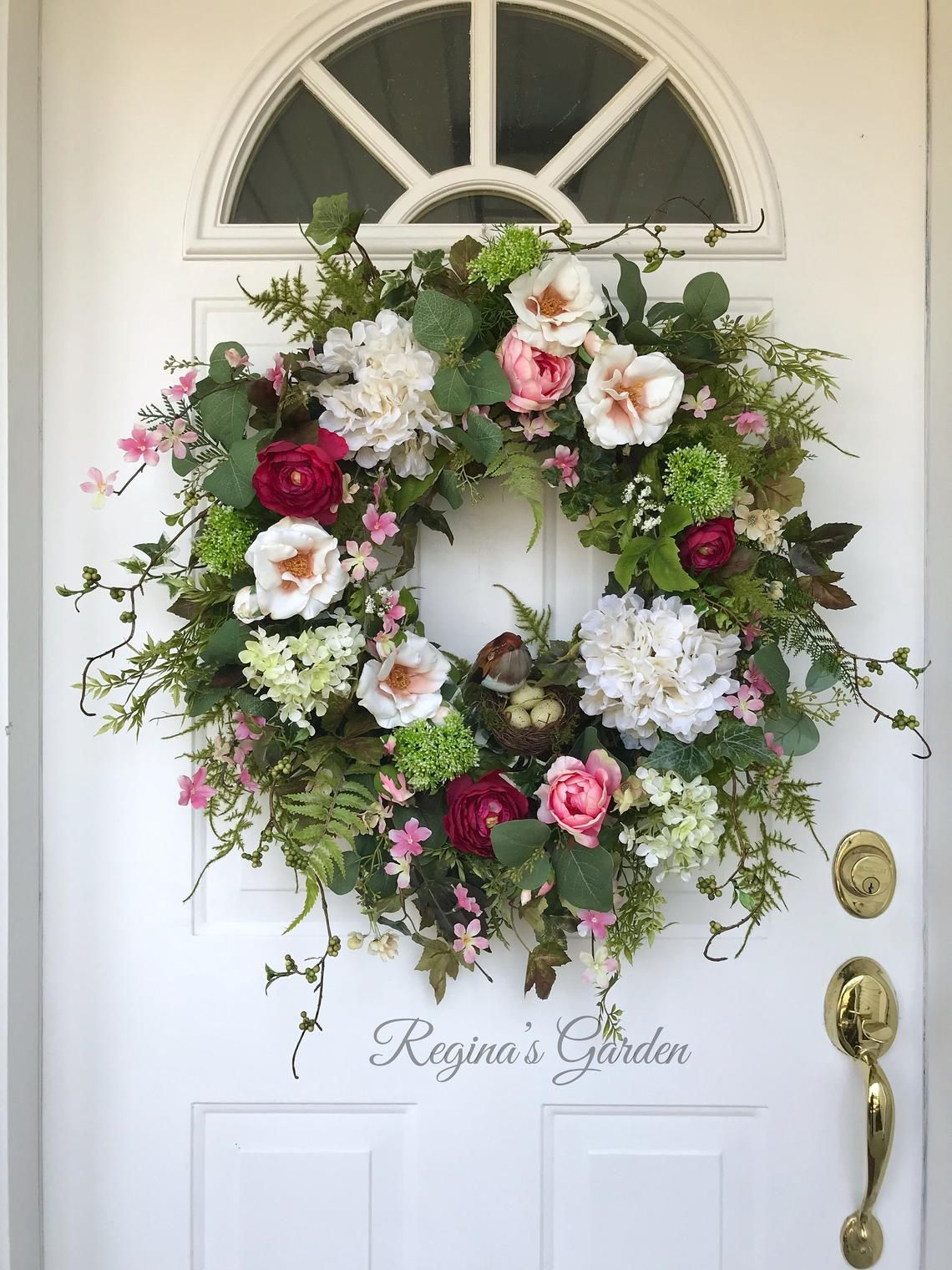 Spring Wreath For Front Door Hydrangea Wreath French Country Etsy Spring Wreath Country Wreaths Wreaths