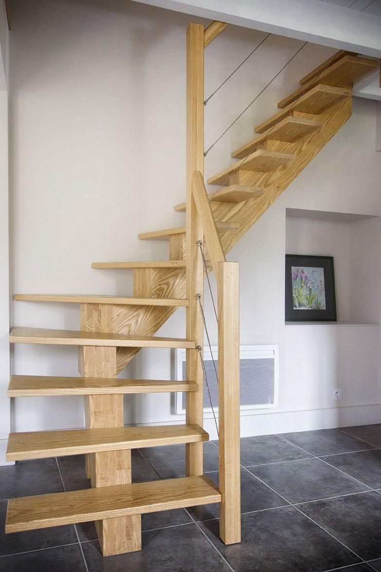 escalier bois 1 4 tournant rampe bois et cables m talliques stairs loft staircase. Black Bedroom Furniture Sets. Home Design Ideas